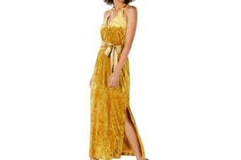 Avec Les Filles Women's Dress Yellow Size 8 Maxi Crushed-Velvet Belted