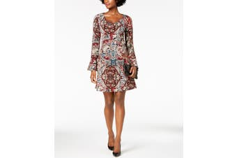 Connected Apparel Women's Dress Red Size 12P Petite Shift Paisley
