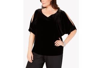 Alex Evenings Women's Blouse Black Size 1X Plus Velvet Split-Sleeve
