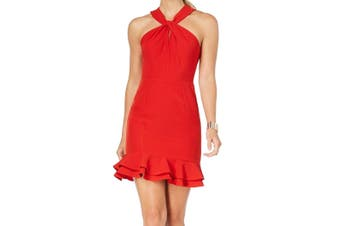 19 Cooper Women's Dress Classic Cherry Red Size Large L Shift Halter