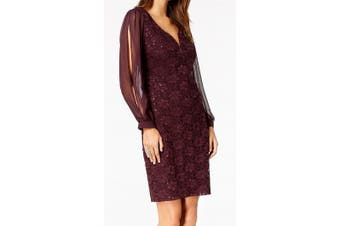 Connected Women's Dress Purple Size 12 Sheath Chiffon Sleeve Sequins