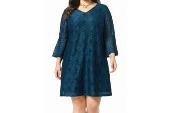 Connected Apparel Women's Dress Teal Blue Size 18W Plus Shift Lace