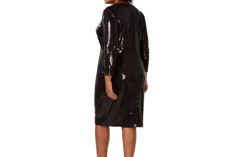Calvin Klein Women's Dress Black Size 20W Plus A-Line Sequin Shimmer