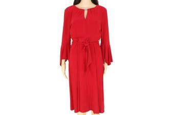 Lauren By Ralph Lauren Women's Dress Red Size 8 Keyhole Sheath Belted