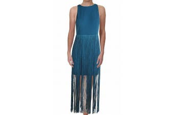 Aidan Mattox Women's Dress Teal  Blue Size 10 Sheath Fringe Cocktail