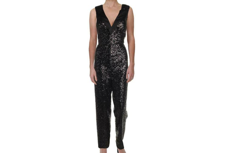 Aidan Mattox Women's Jumpsuit Black Size 8 Sequined Tuxedo V-Neck
