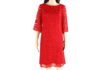 Lauren by Ralph Lauren Women's Dress Red Size 10 Sheath Floral Lace