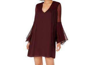 Avec Les Filles Women's Dress Purple Size 10 Shift Bell-SLeeve V-Neck
