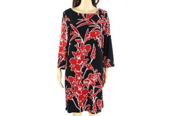 Lauren by Ralph Lauren Women's Dress Black Size 8 Floral Boat Neck