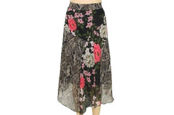INC Women's Skirt Black Size 22W Plus Asymmetric Floral Snake Print