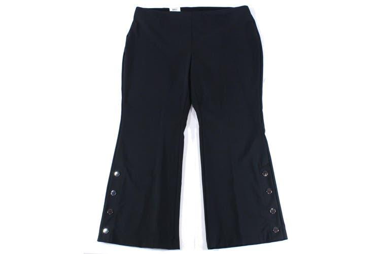 INC Women's Dress Pants Black Size 24W Plus Regular Stretch Boot Leg