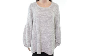 Style & Co. Women's Sweater Gray 2X Plus Knit Metallic Blouson-Sleeves