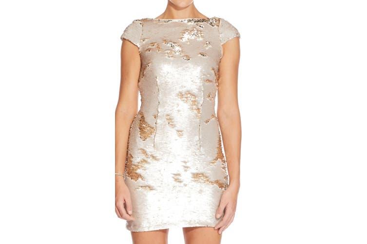 Adrianna Papell Women's Dress Beige Size 2 Sheath Two Tone Sequin