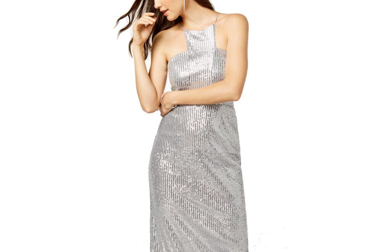 Adrianna Papell Women's Dress Silver Size 12 Gown Sequin Back-Split