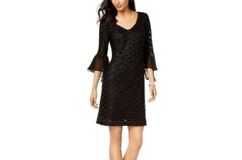Connected Women's Dress Black Size 10P Petite V-Neck Bell-Sleeves
