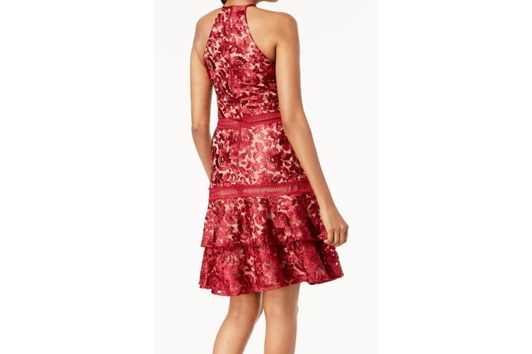 Xscape Women Dress Red Size 10 A-Line Halter Ruffled Lace Crochet Trim