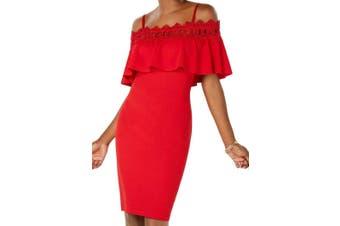BCX Dress Junior Dress Red Size 3 Sheath Cold Shoulder Crochet Trim