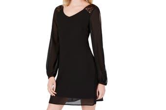 Sequin Hearts Women's Dress Black Size Large L Sheath Sequin Shoulder