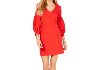 Laundry By Shelli Segal Womens Dress Red Size 14 Sheath Balloon-Sleeve
