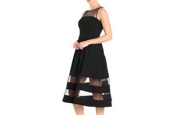 Aidan by Aidan Mattox NEW Black Women's Size 6 Crepe Mesh A-Line Dress