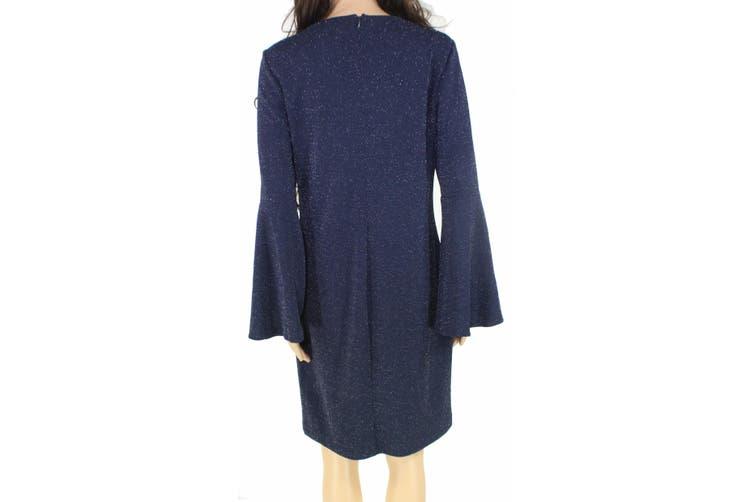 Lauren by Ralph Lauren Women's Dress Navy Blue Size 14 Shift Glitter