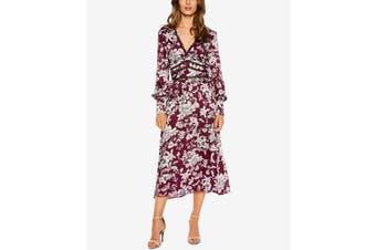 Bardot Women's Dress Red Size 4 Sheath V-Neck FLoral-Print Ruffle