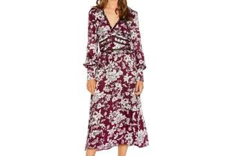 Bardot Women's Dress Purple Size 8 Ruffle Pleated Floral Print V-Neck