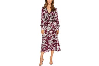 Bardot Women's Dress Red Size XL A-Line Floral Print V-Neck Ruffled