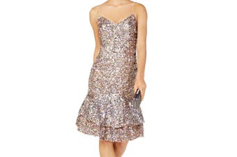Adrianna Papell Women's Dress Pink Size 6P Petite A-Line Sequin Tiered