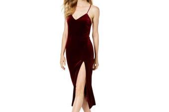 Bardot Women's Dress Burgundy Red Size XL Velvet High Side Split Midi