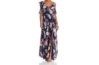 Aqua Women's Maxi Dress Blue Multi Size 6 Floral Cold Shoulder Chiffon