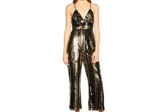 Bardot Women's Jumpsuit Gold Black Size Large L Sequin Spaghetti Strap