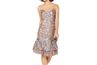 Adrianna Papell Women's Dress Pink Size 6 V-Neck Sequin Ruffled