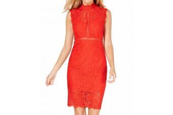 Bardot Women's Dress Raspberry Red Size XS Eyelash Hem Lace Panel