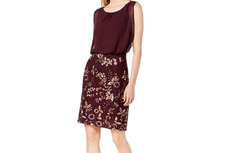 Calvin Klein Women's Dress Purple Size 8 Floral Embroidered Chiffon