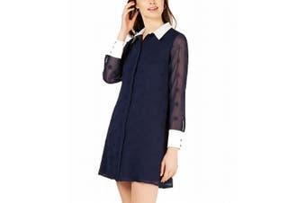 Avec Les Filles Women's Shirt Dress Navy Blue Size 6 Button Down Sheer