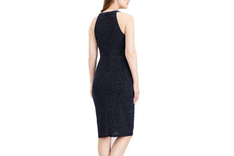 MSK Women's Dress Blue Size 16 Shimmer Halter Cut Out Ruched Sheath