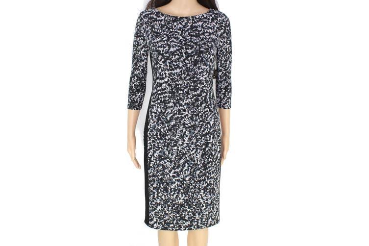 Lauren by Ralph Lauren Women's Dress Black 14 Sheath Drewly Printed
