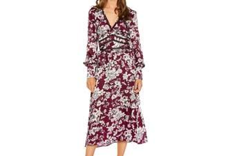 Bardot Women's Dress Red Size 6 A-Line Floral-Print Ruffle Cutout
