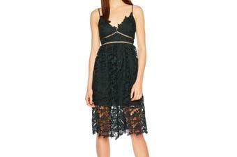 Bardot Women's Dress Green Size 12 (UK 16) Sheath Lace-Overlay