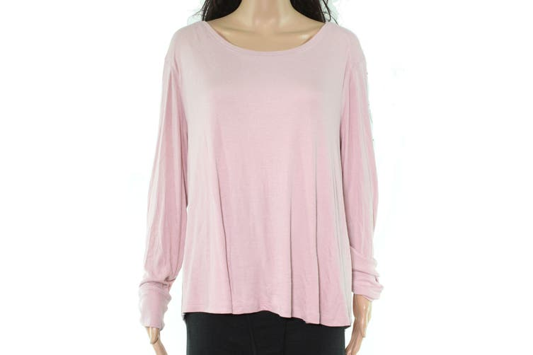INC Womens Top Mauve Pink Size 1X Plus Ribbed Stretch Scoop Neck