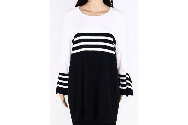 Alfani Women's Sweater Black Size 0X Plus Pullover Contrast Striped