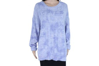 INC Women's Sweater Blue Size 3X Plus Crewneck Chunky Cable Knit