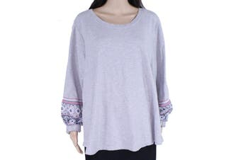 Style & Co Womens Sweatshirt Gray 2X Plus Embroidered Embellished Crew