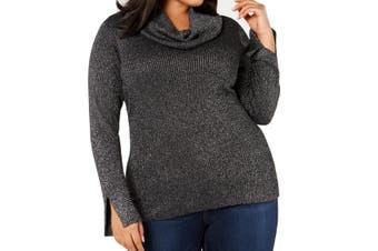 Belldini Women's Sweater Silver Size 1X Plus Cowl Neck Shimmer Split