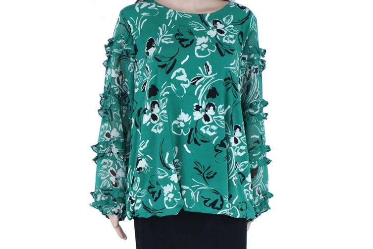 Alfani Women's Blouse Green Black Size 3X Plus Ruffle Inset Floral