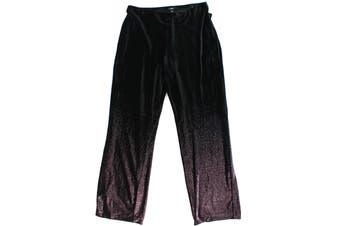 Alfani Women's Pants Black Size 2X Plus Stretch Velvet Foil Wide Leg
