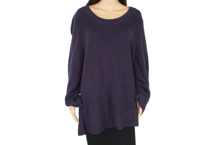 Style & Co. Women's Sweater Purple Size 3X Plus Lantern Sleeve Pullover