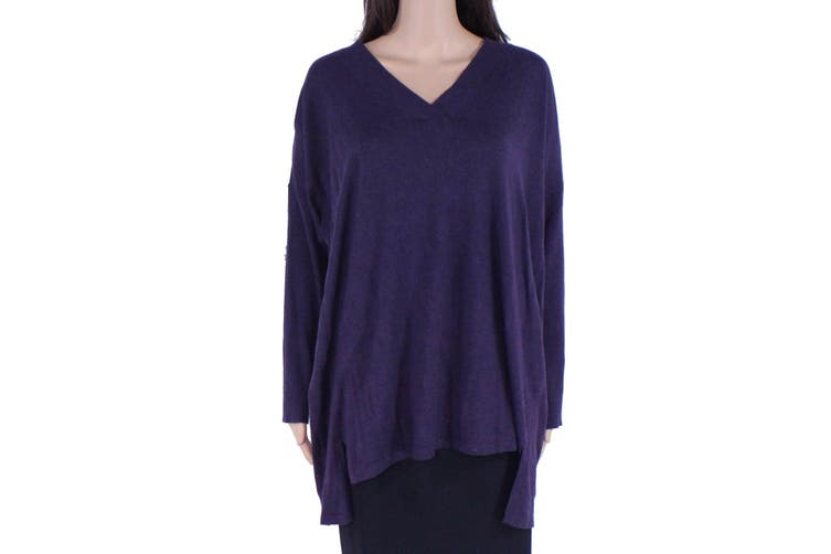 Charter Club Women's Sweater Purple Size 2X Plus Ribbed High-Low V-Neck