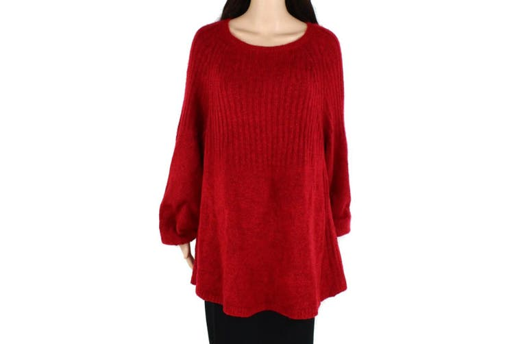 Style & Co Women's Sweater Red Size 3X Plus Knitted Cold-Shoulder Rib